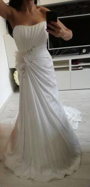 Svatební ivory šaty s vlečkou